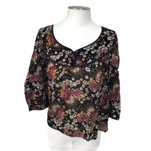 Lucky Brand Black Floral Sheer Blouse
